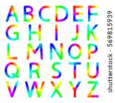 rainbow letters with square... | Shutterstock . vector #569815939