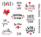 set of romantic text signs.... | Shutterstock .eps vector #569817985
