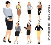 collection of seven woman... | Shutterstock . vector #569820481