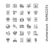 vector line icons with house... | Shutterstock .eps vector #569822251