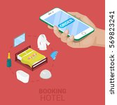 isometric online booking hotel... | Shutterstock .eps vector #569823241