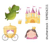 princess  dragon and castle... | Shutterstock . vector #569826211