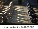 monkeys wooden chess  one row... | Shutterstock . vector #569835805