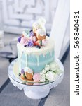 beautiful wedding cake on the...   Shutterstock . vector #569840431