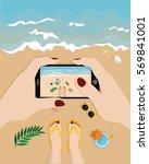 hands holding phone taking... | Shutterstock .eps vector #569841001