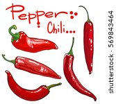Vector Set Of Chili Pepper....
