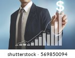 businessman with financial... | Shutterstock . vector #569850094