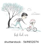 little girl learns riding a... | Shutterstock .eps vector #569852074