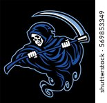 skull of grim reaper with the... | Shutterstock .eps vector #569853349