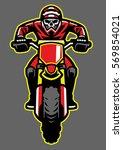 mascot of skull riding motocross   Shutterstock .eps vector #569854021