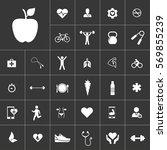 apple. health icon set on gray...