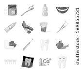 dental care set icons in... | Shutterstock .eps vector #569855731