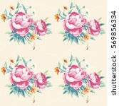 seamless floral pattern with... | Shutterstock .eps vector #569856334