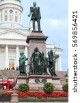 Small photo of HELSINKI, FINLAND - CIRCA SEP, 2016: Statue of Emperor Alexander II is on the Senate Square on the background of Saint Nicholas Cathedral. Attractions of Helsinki