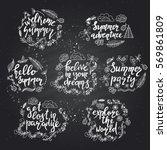 set of hand drawn summer theme...   Shutterstock .eps vector #569861809