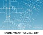 mechanical engineering drawings.... | Shutterstock .eps vector #569863189
