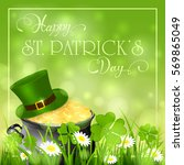 patricks day background with...   Shutterstock . vector #569865049