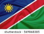 namibia flag with fabric... | Shutterstock . vector #569868385