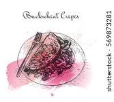 buckwheat crepes watercolor... | Shutterstock .eps vector #569873281