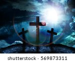 Silhouette Of Three Crosses On...