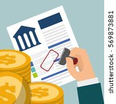 banking credit coins approved... | Shutterstock .eps vector #569873881