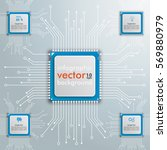 motherboard infographic with 5... | Shutterstock .eps vector #569880979