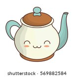 teapot kawaii icon image vector ... | Shutterstock .eps vector #569882584