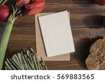 wooden greeting card mock up... | Shutterstock . vector #569883565