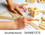 architect workplace  ... | Shutterstock . vector #569887375