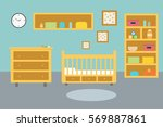 baby room with furniture.... | Shutterstock .eps vector #569887861