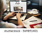 coffee time break cafe leisure... | Shutterstock . vector #569891401