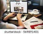coffee time break cafe leisure... | Shutterstock . vector #569891401