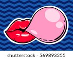 woman red lips with gum bubble... | Shutterstock .eps vector #569893255