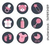 baby shower icons set  girl... | Shutterstock .eps vector #569893489