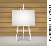 vector wooden white easel with... | Shutterstock .eps vector #569895955
