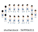 collection set of walking boy.... | Shutterstock .eps vector #569906311