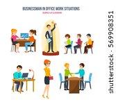 businessman in office work...   Shutterstock .eps vector #569908351