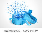 gift with blue bow and hearts... | Shutterstock .eps vector #569914849