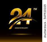 24 years golden anniversary... | Shutterstock .eps vector #569920105
