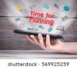 time for planning. tablet... | Shutterstock . vector #569925259