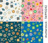 cute floral seamless pattern set - stock photo