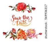 wildflower rose flower frame in ...   Shutterstock . vector #569936317