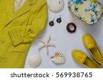 women's accessories in yellow... | Shutterstock . vector #569938765