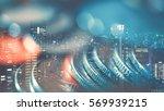 double exposure of city   graph ... | Shutterstock . vector #569939215