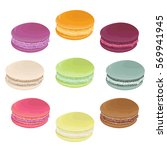set of macaroons. french... | Shutterstock .eps vector #569941945