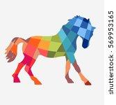 horse  geometric shapes design... | Shutterstock .eps vector #569953165