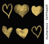 set  of hand drawn hearts in... | Shutterstock .eps vector #569956609