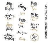 winter lettering big set golden | Shutterstock .eps vector #569963434