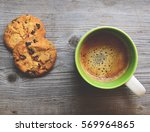 coffee and cookies on wooden... | Shutterstock . vector #569964865