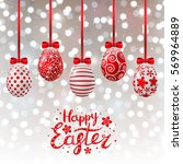 red easter eggs on shiny... | Shutterstock .eps vector #569964889